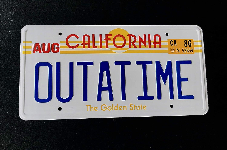 Zur/ück in die Zukunft Nummernschild Super6props Outatime Zur/ück zu der Zukunft Prop Kfz-Kennzeichen wie auf Marty McFly und Doc Browns DMC-12 Delorean gesehen