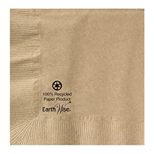 Hoffmaster 180200 Earth Wise Kraft Beverage Napkin, 2 Ply, 1/4 Fold, 10