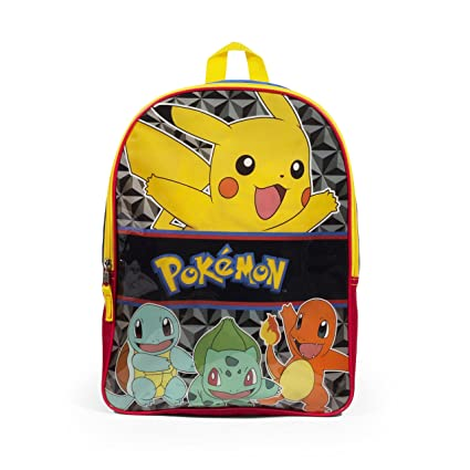 6bc8f2172c51 UPD Pokemon Pikachu Canvas School Backpack - 16 inch - Durable Fabric -  Padded Adjustable Straps