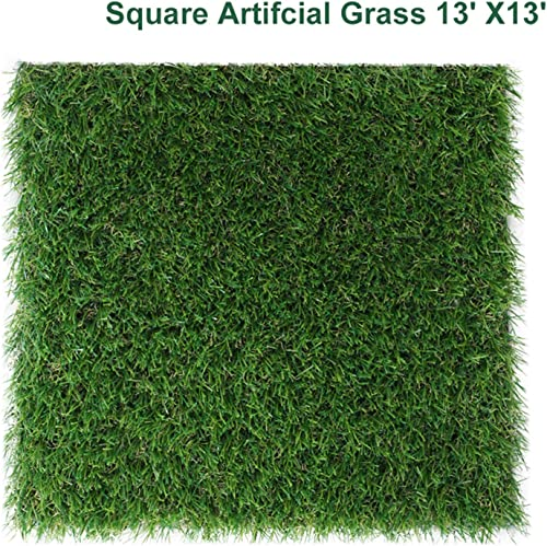 GL Artificial Grass Mat Square Shape, Realistic Synthetic Grass Indoor Outdoor Rug, Garden Lawn Landscape for Pets,Fake Faux Grass Rug with Drainage Holes 13FT X 13FT 169 Square FT