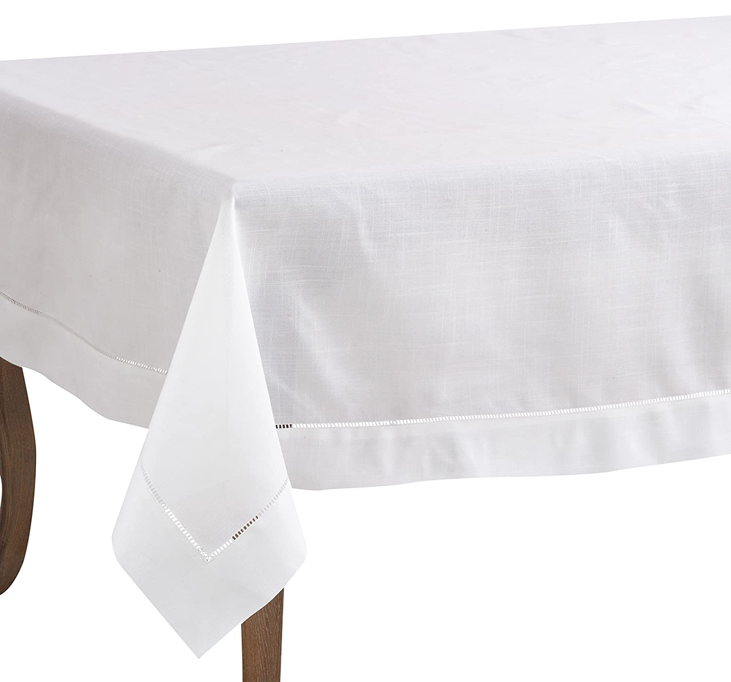 70  x 104  SARO LIFESTYLE 6300.W20S Dinner Napkin with Hemstitch Border, White, 20  (Set of 12 pcs)