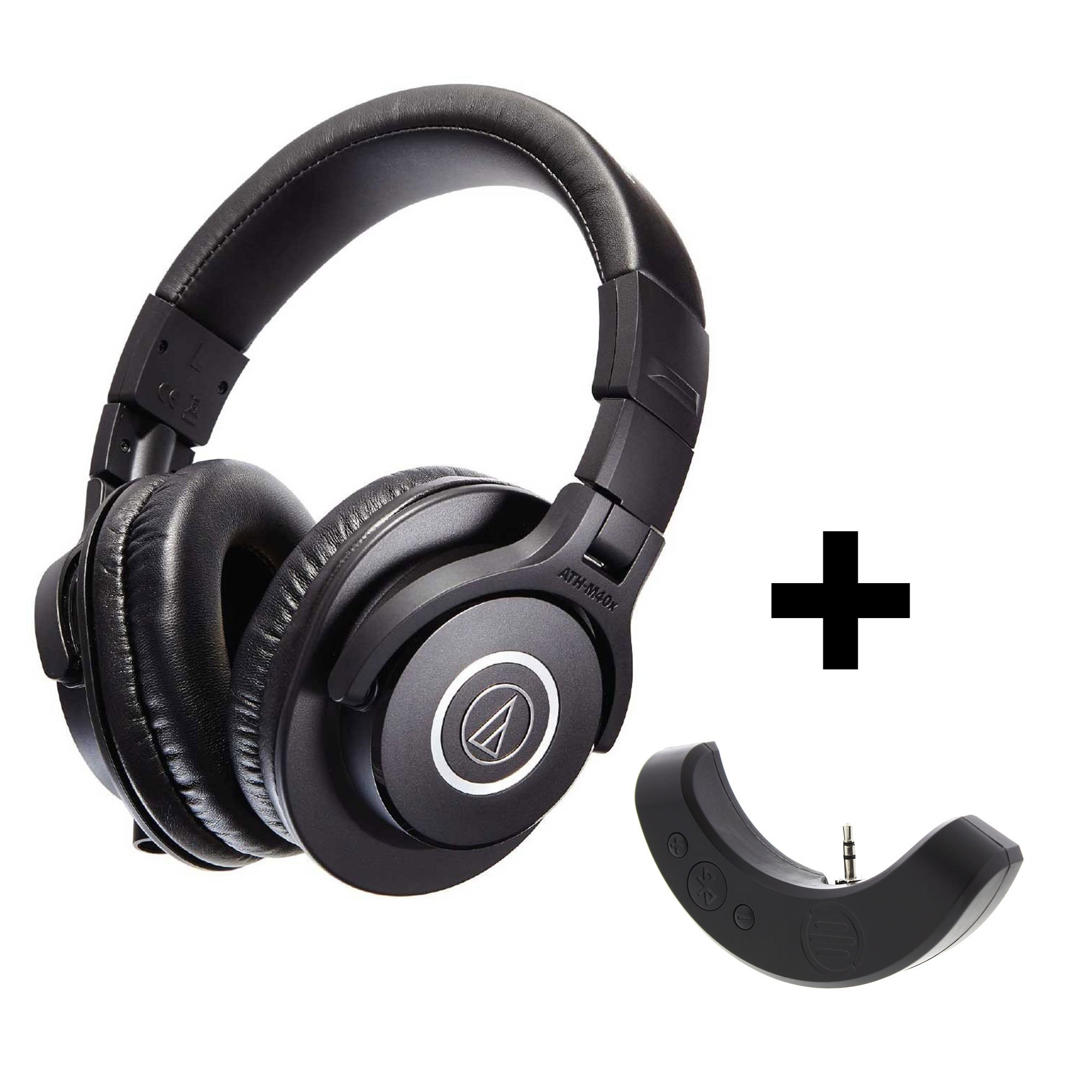 Audio-Technica ATH-M40x Professional Studio Monitor Headphones with Bluetooth Adapter-Amplifier BAL-M40X