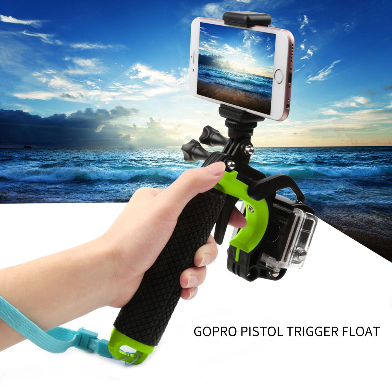 ARCHE GoPro Waterproof Pistol Shutter Trigger Kit for Gopro Hero 6 Black, Gopro Hero 5, Hero 4,Hero 3+ Hero 3, Hero+LCD Yi Action SJCAM Xiaomi (Blue/Green/Orange/Pink/Yellow) (Green)