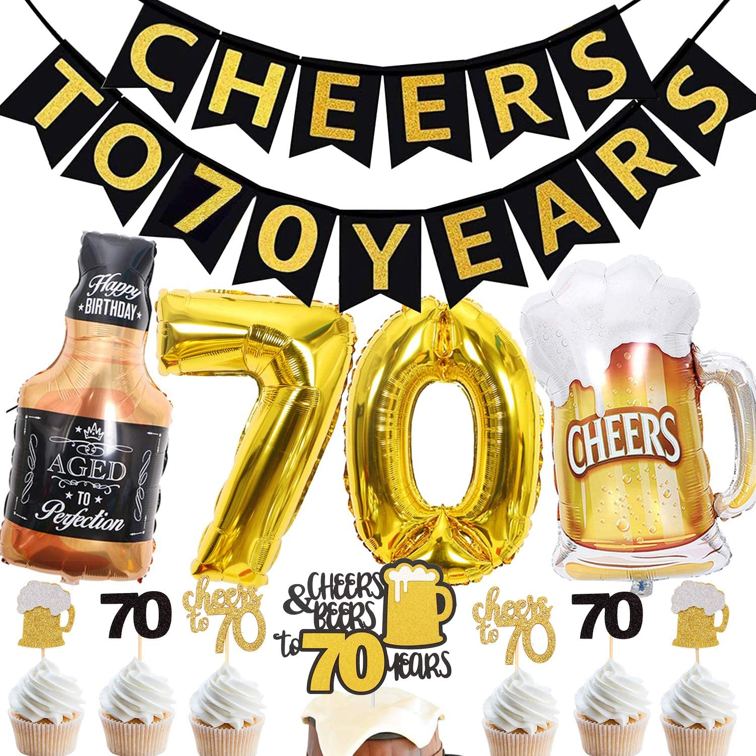 70th Birthday Decorations for Men/Women - Cheers to 70 Years Banner Balloon Sign - 70 Years Birthday Sign 70th Anniversary Decorations Supplies
