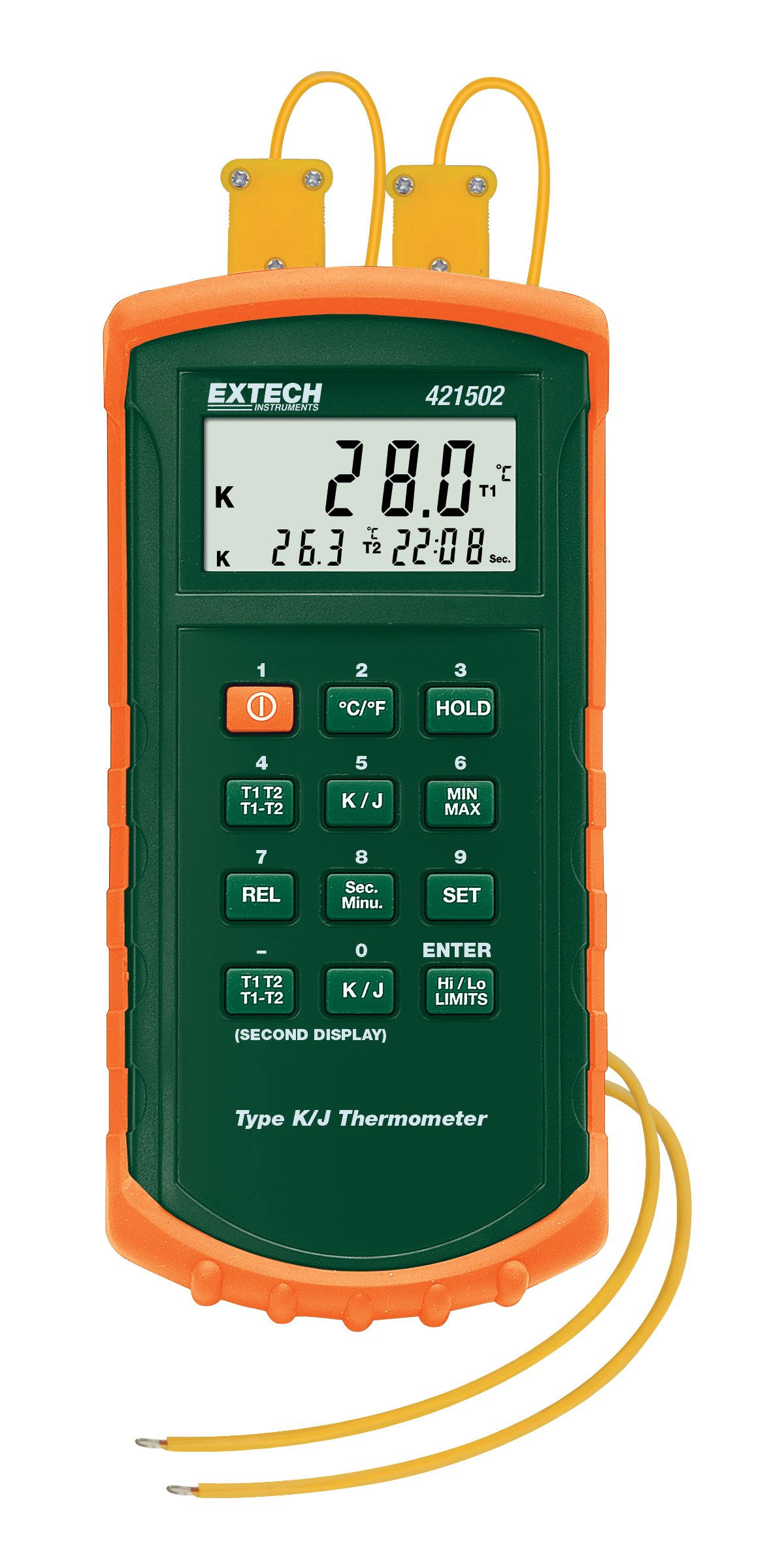 Extech 421502 Type J/K Dual Input Thermometer with Alarm