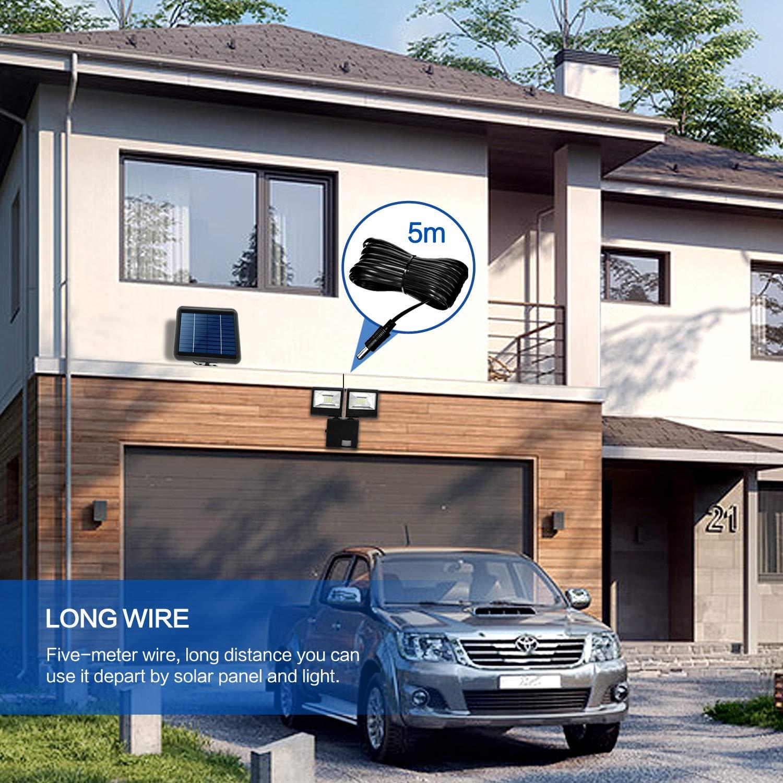 24 LEDs 1000 Lumens 2 Heads Motion Sensor Solar Light Outdoor Light Long Cable Line Bright Fence Deck Yard Driveway Garden Back Door Step Stair Fujian Haiguang Import /& Export Trading Co HIGUNE Dual-Head Sunlight Power Security Light Ltd.