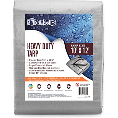 10x12 Heavy Duty Tarp, Waterproof Plastic Poly 10 Mil Thick Tarpaulin with Metal Grommets Every 18 Inches - for Roof, Camping, Outdoor, Patio. Rain or Sun (Reversible, Silver and Brown) (10 x 12 Foot) [5Bkhe0402967]