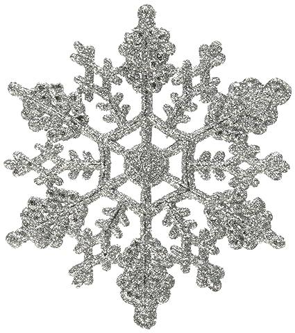 amazon com vickerman plastic glitter snowflake 4 inch silver 24