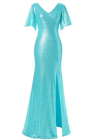 JYDress Womenu0027s Sequin V Neck Evening Dress Flutter Sleeve Floor Length Gown  2017
