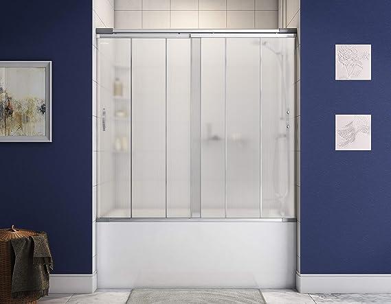 Klozher - Puerta de Ducha corredera con Paneles de policarbonato y Barra de tensión Ajustable para baños de 57 a 63 Pulgadas: Amazon.es: Hogar