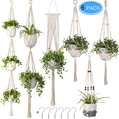 6 Pack Macrame Plant Hangers, MENOLY Hanging Planter Different Tiers, Handmade Cotton Rope, Hanging Plant Holder Stand with 6 PCS Hooks for Indoor Outdoor Boho Home Decor : Garden & Outdoor