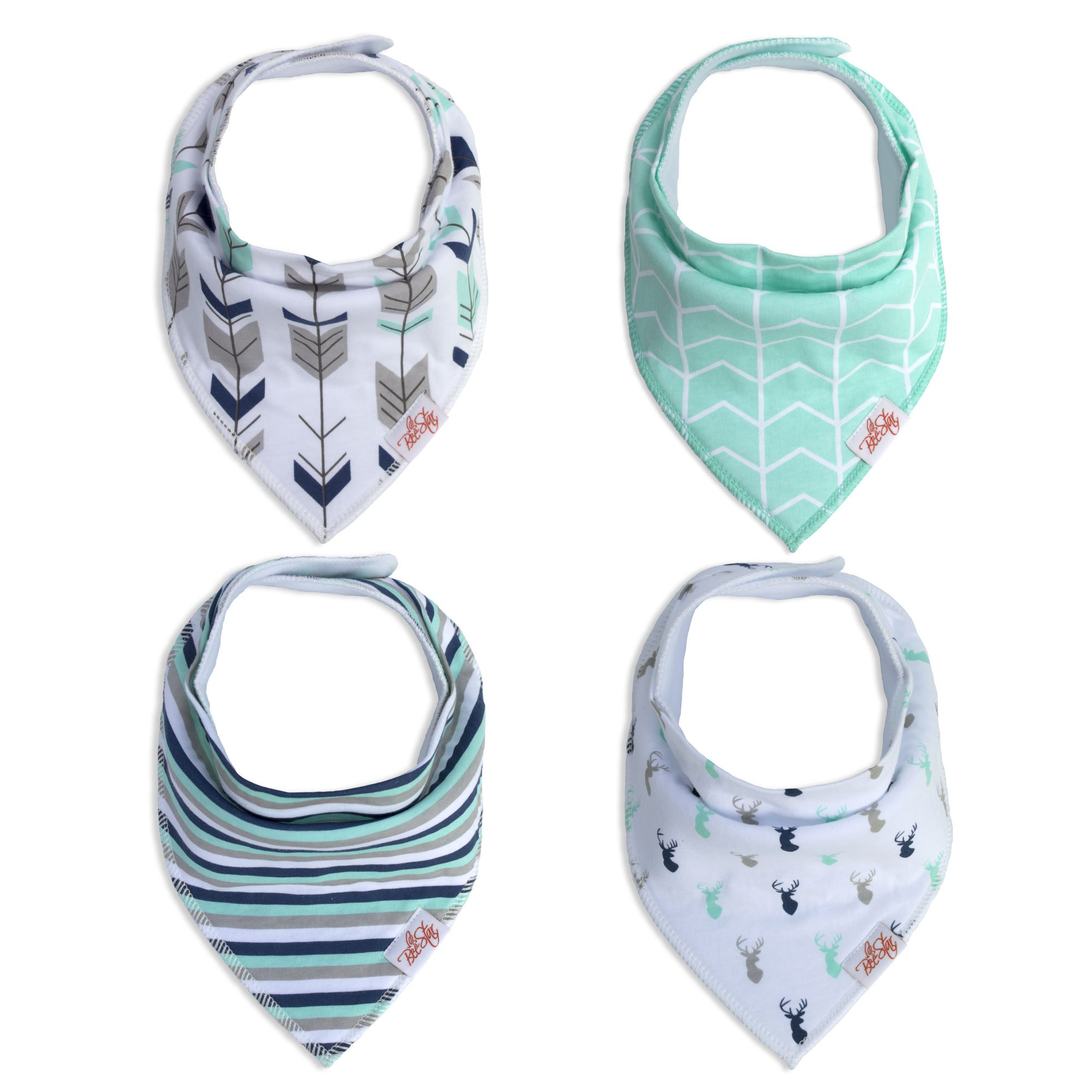 Baby Bandana Drool Bibs,4-Pack, for Boys and Girls Super Absorbent and Soft 100% Organic Cotton, Drooling Teething Baby Shower Gift Set BeeStar