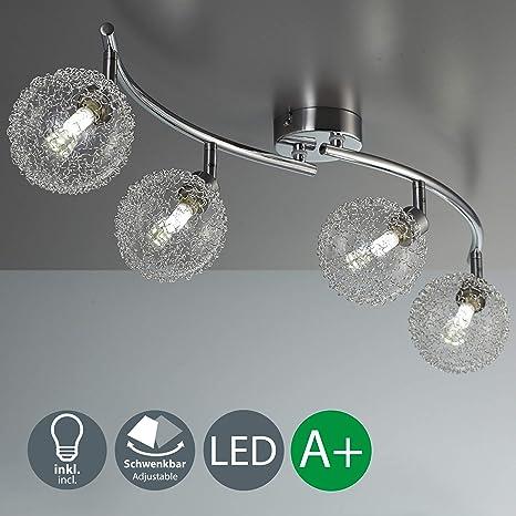 Lámpara de techo con 4 x 3,5 W bolas de cristal, luz de