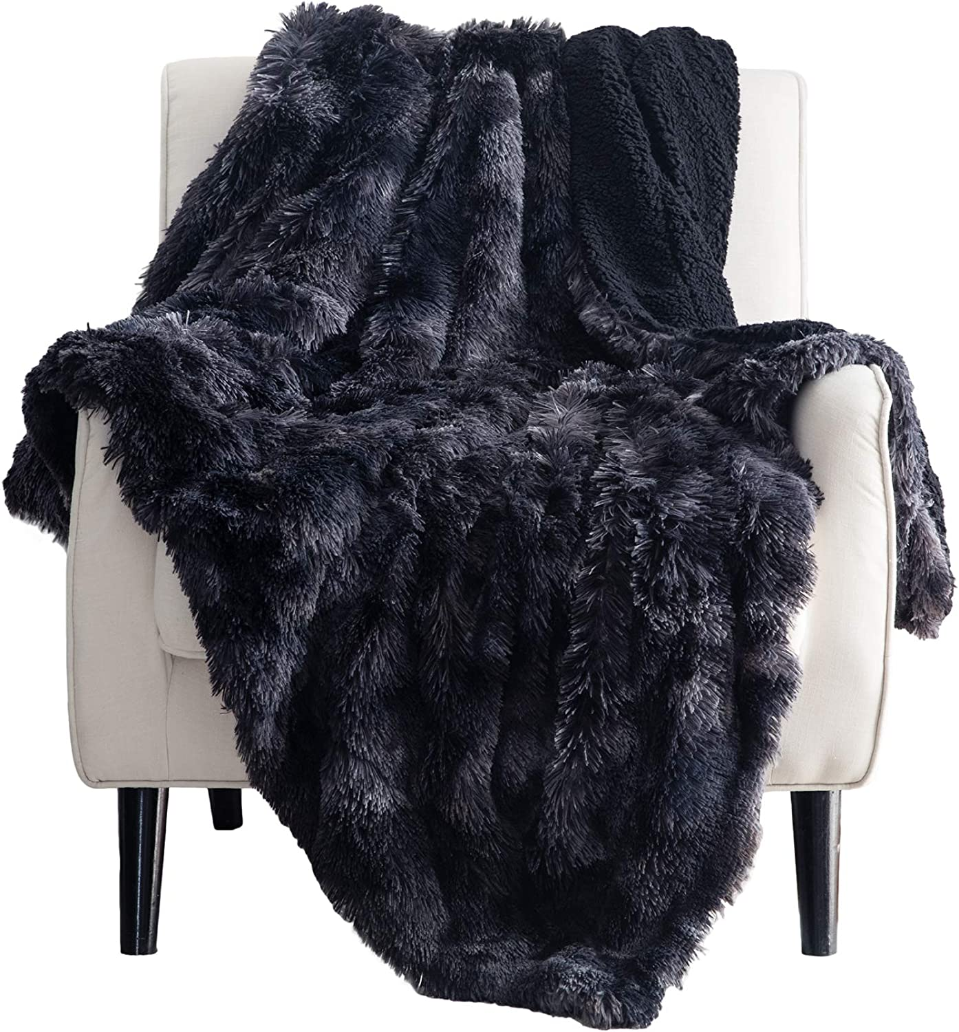 Bedsure Soft Fuzzy Faux Fur Sherpa Fleece Queen Size Throw Blanket Black- Warm Thick Fluffy Plush Cozy Reversible Shaggy Blanket for Sofa and Bed -Comfy Furry Blanket,Full 90x90 inches