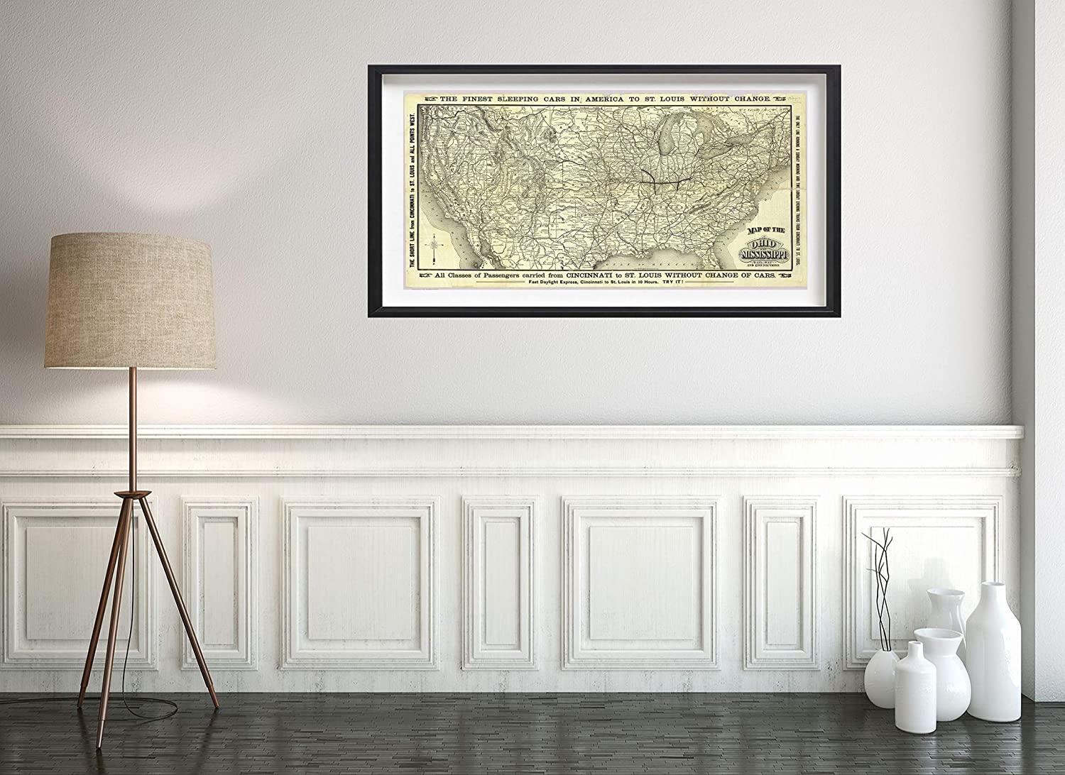 Map|Ohio & Mississippi Railway 1883|Historic Antique Vintage Reprint|Size: 12x24|Ready to Frame