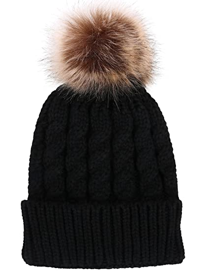 Women s Winter Soft Knitted Beanie Hat with Faux Fur Pom Pom 98fa3f3619f