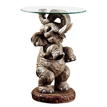 Elephant Side Table In Grey Animal Figure For Frame Glass Top Table Surface  Round Sturdy Stable