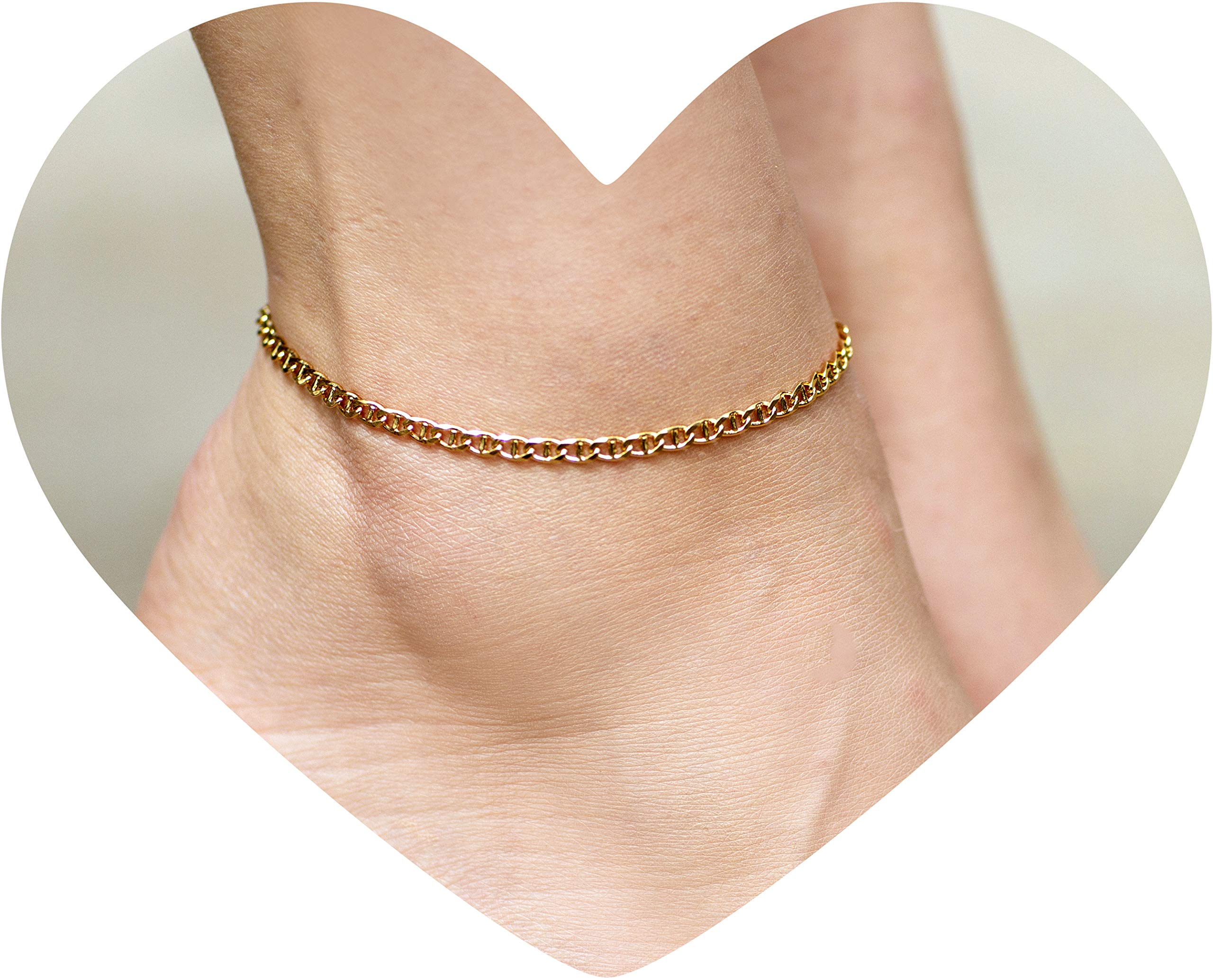 9-11 Pretty gold plated anklet with a black enamel diamond charm body jewellery ankle bracelets