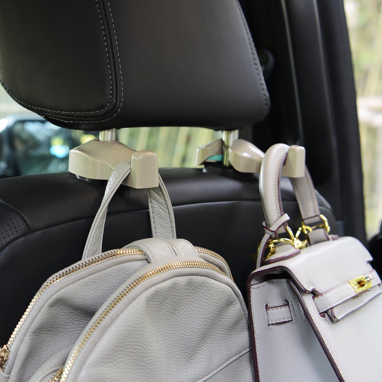 Coloured Cream Toplus 4 PACK Car Headrest Hooks Vehicle Universal Car Organizer Car Back Seat Headrest Hanger Holder Hook for Bag Purse Cloth Grocery