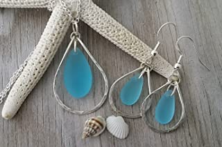 product image for Handmade in Hawaii, wire loop turquoise bay blue sea glass Necklace+Earrings Set, (Hawaii Gift Wrapped, Customizable Gift Message)