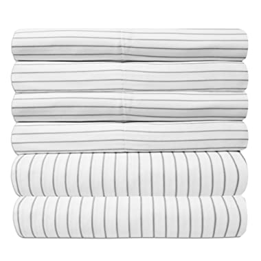Queen Sheets Pinstripe White - 6 Piece 1500 Thread Count Fine Brushed Microfiber Deep Pocket Queen Sheet Set Bedding - 2 Extra Pillow Cases, Great Value, Queen, Pinstripe White