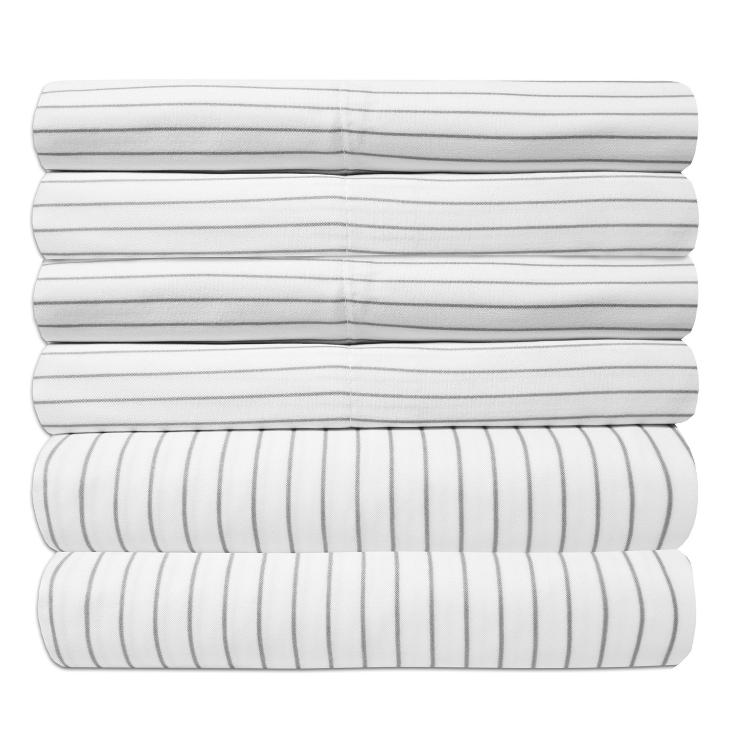 Sweet Home Collection 6 Piece 1500 Thread Count  Deep Pocket Bed Sheet Set - 1 Extra Pillow Case, Great Value, Pinstripe White, King