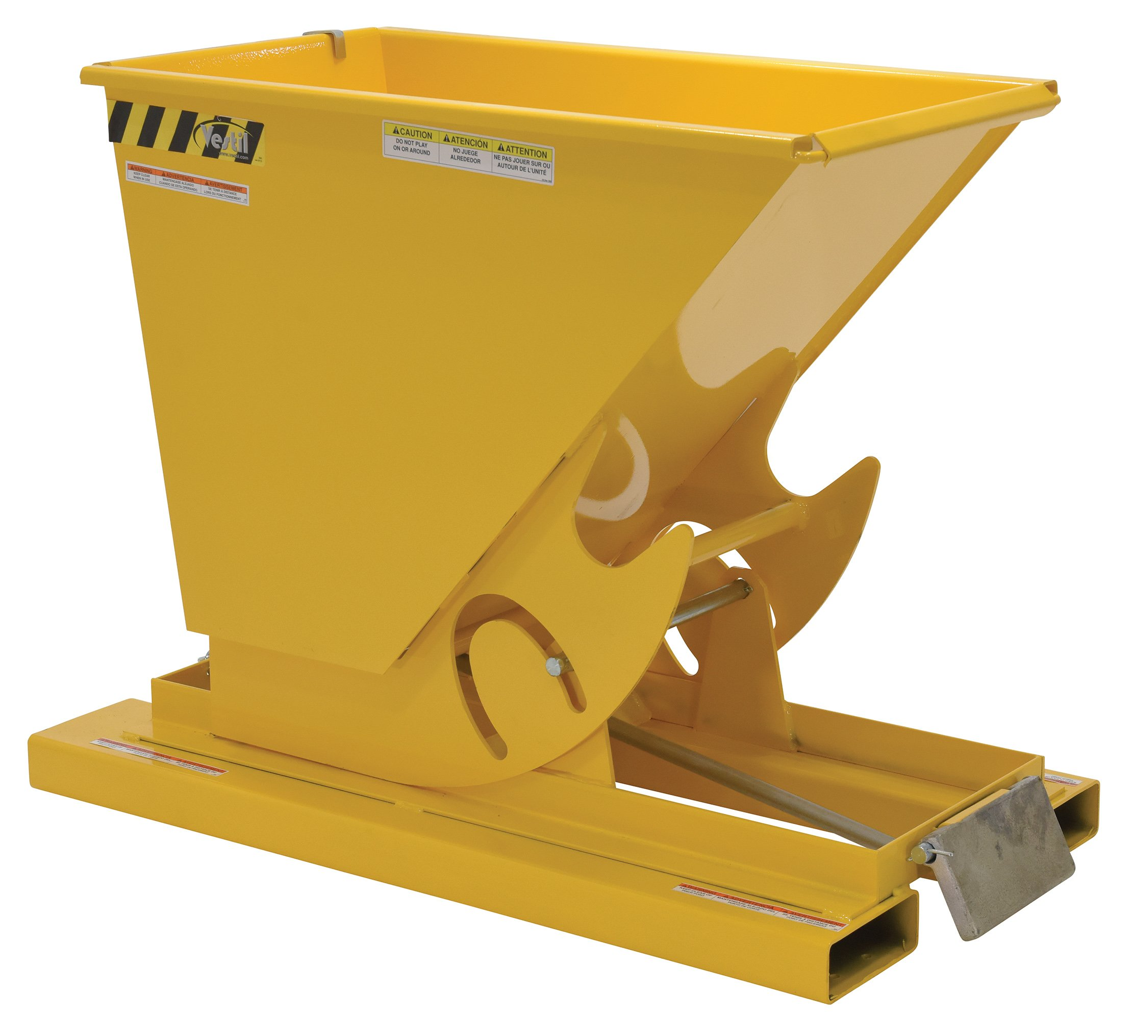 Vestil D-25-MD-YEL Self-Dump MD Hopper, 0.25 cu. yd, 4000 lb. Capacity, Overall L x W x H (in.) 51-7/8'' x 26'' x 38-1/16, Yellow