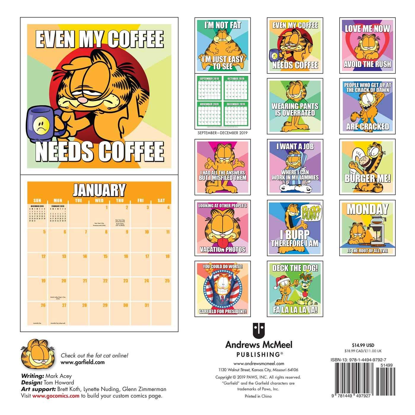 Garfield 2020 Wall Calendar Davis Jim 0050837424777 Amazon Com Books