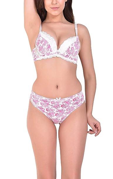 de3136c9a1 Angels Aura Women's Double Push Up Bra and Bikini Set - Off White (B,