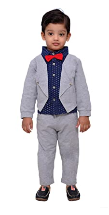 aa733cac2 Kids Party wear Shirt with Bow, Pants and Stitched Jacket for Boys:  Amazon.in: Clothing & Accessories