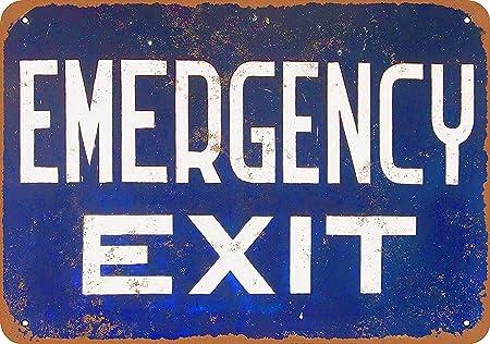 BORJOR Emergency Exit -Cartel de Pared estaño Placa Metal ...