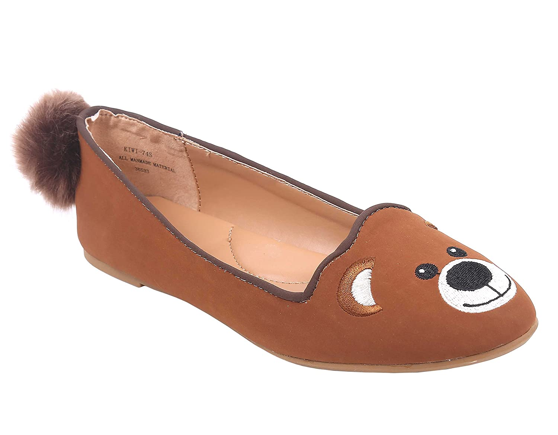 Bamboo Animal Design Closed Toe with a Furry Pompom Tail Flats Women Shoes B07CJY22TS 6 B(M) US|Bear