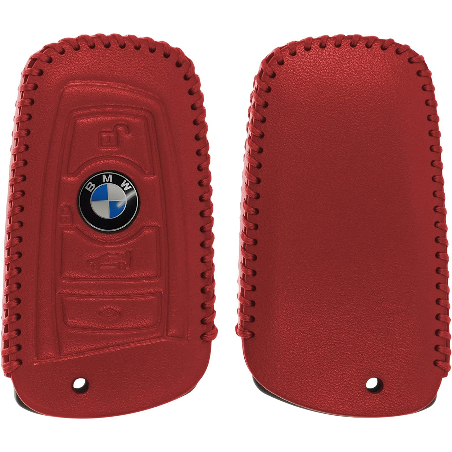 PhoneNatic car key Genuine leather stitched case for 4-button remote for BMW 3er E90 5er F10 und 7er F01 in brown 4-button