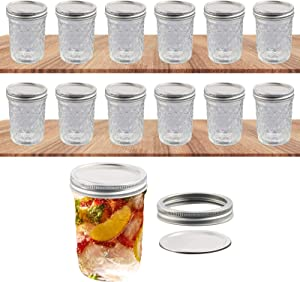 12 Pack Mason Jars 24 OZ, Wide Mouth Canning Jars, with 24 Pcs Lids and Rings for Jam, Honey, Smoothies, Parfaits, Desserts, Salads, and Overnight Oats, with Clean Brush and Label