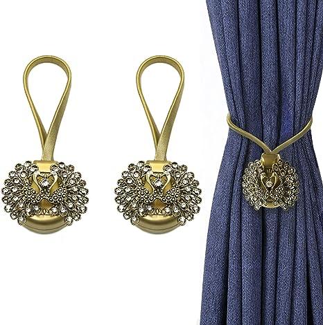 Magnetic Fashion  Curtain Tiebacks Crystal Tie Backs Buckle Clips Holdbacks Home