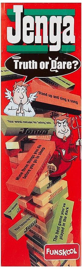 Amazoncom Funskool Jenga Truth Or Dare Red Toys Games