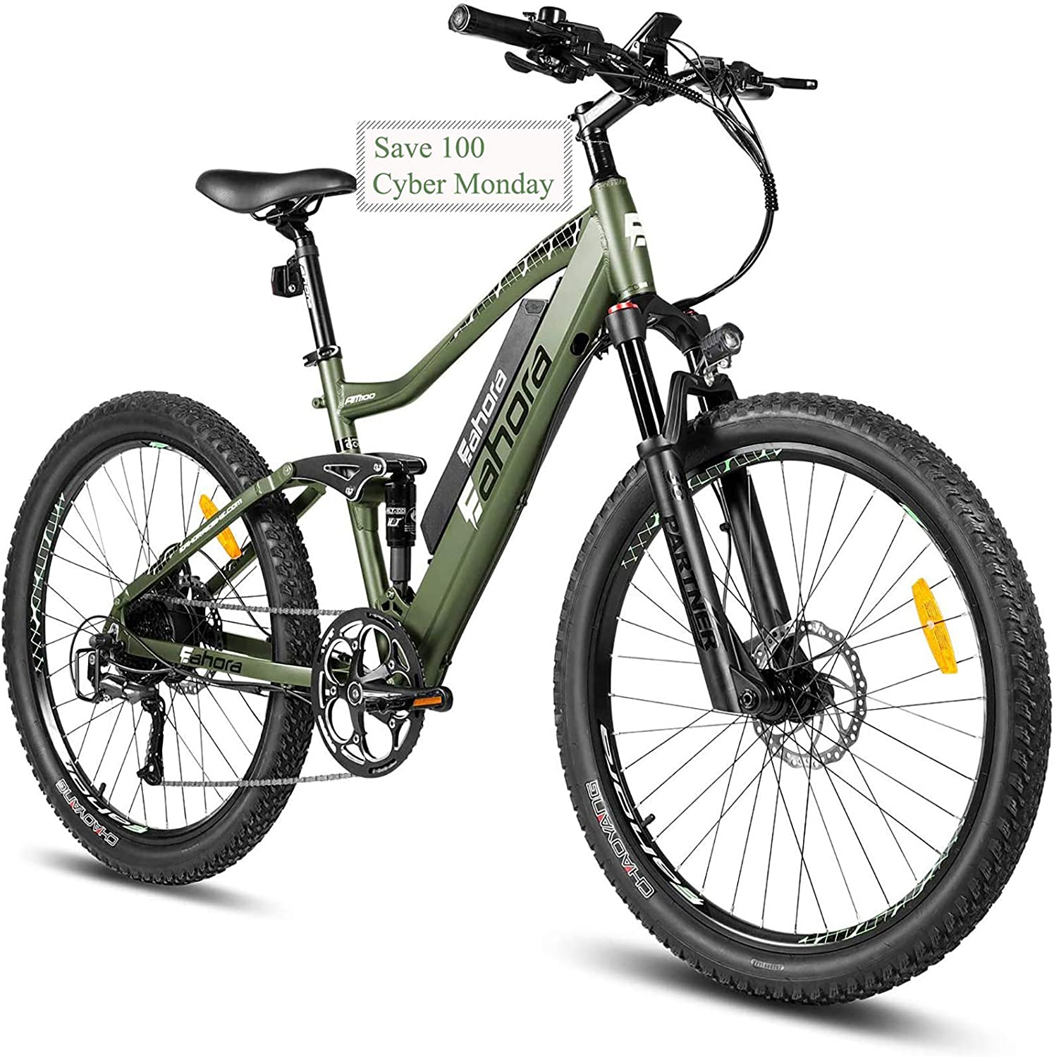 best full suspension mountain bike under 2000: eAhora AM100 27.5 – inch 48V Electric Bicycle