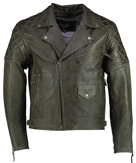 d2475c63f Charlie LONDON Leather Jacket Mens Ashwood Diamond Vintage Olive ...