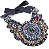 Crystal Rhinestone Statement Necklace Christmas Gift, Chunky Collar Choker Bib Pendant Statement Necklace Fashion Necklace Je