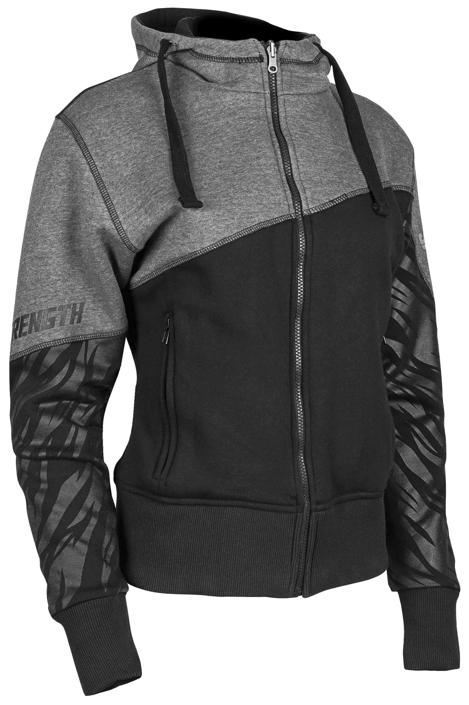 Speed & Strength 1106-1403-0055 Cat Outa Hell 2.0 Womens Armored Hoody, Gender: Womens, Distinct Name: Gray/Black, Primary Color: Gray, Size: XL
