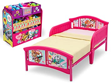 Nickelodeon Paw Patrol Skye And Everest Plastic Toddler Bed With Rails PawPatrol