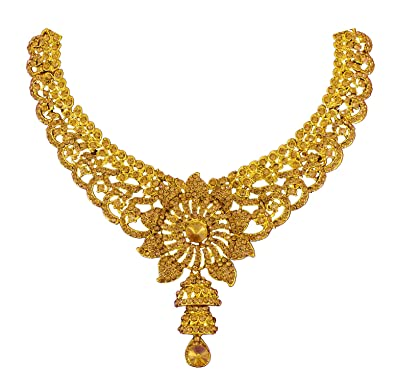 Buy Guarantee Ornament House Golden Brass Bridal Necklace Set For