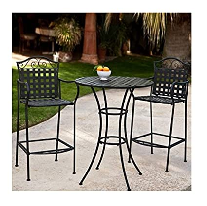 Sensational 3 Piece Outdoor Bistro Set Bar Height Black This Traditional Patio Furniture Is Stylish And Comfortable Bistro Sets Compliment Your Patio Deck Or Machost Co Dining Chair Design Ideas Machostcouk