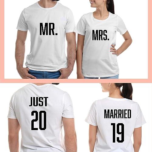 b0114d877 Honeymoon Couples T Shirts, Custom Mr Mrs Hubby Wifey, Wedding Engagement  Gift, Just Married Shirts: Amazon.ca: Handmade
