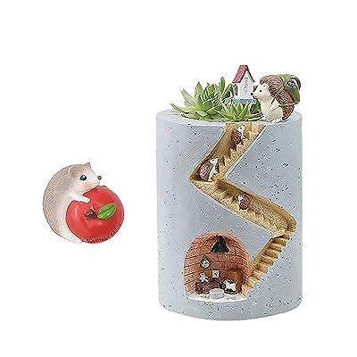 Segreto Creative Plants Flower Pots Brush Pots Ornaments for Succulent Plants Pot Decorated Desk,Garden,Living Room with Sweet Hedgehog Family La moriposa: Garden & Outdoor