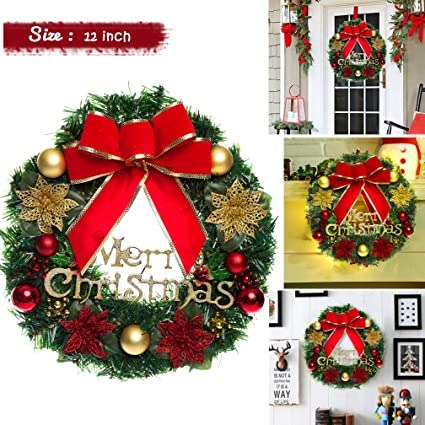 vemee christmas wreath christmas decorated ornament wreath garland seasonal pine wreath with cones