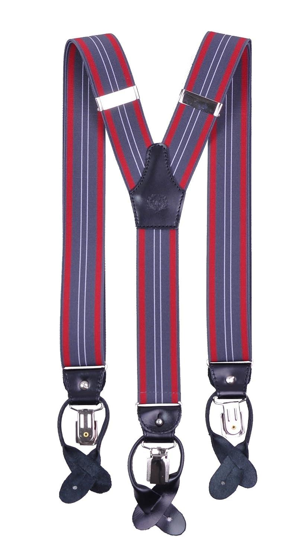 Paolo Udini Bretelle Uomo Donna Per Pantaloni Bottone Clip Su 3,5cm Regolabile in Pelle