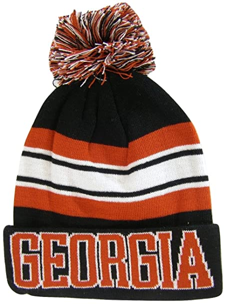 117202acd71 Georgia Adult Size Winter Knit Beanie Hats (Black Red Striped) at ...