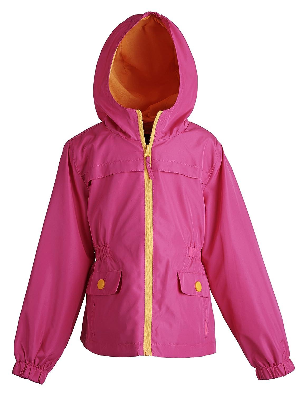 X-Large//16 Rothschild Big Girls Polka Dot Lightweight Hooded Spring Jacket with Pink Lining Fuchsia
