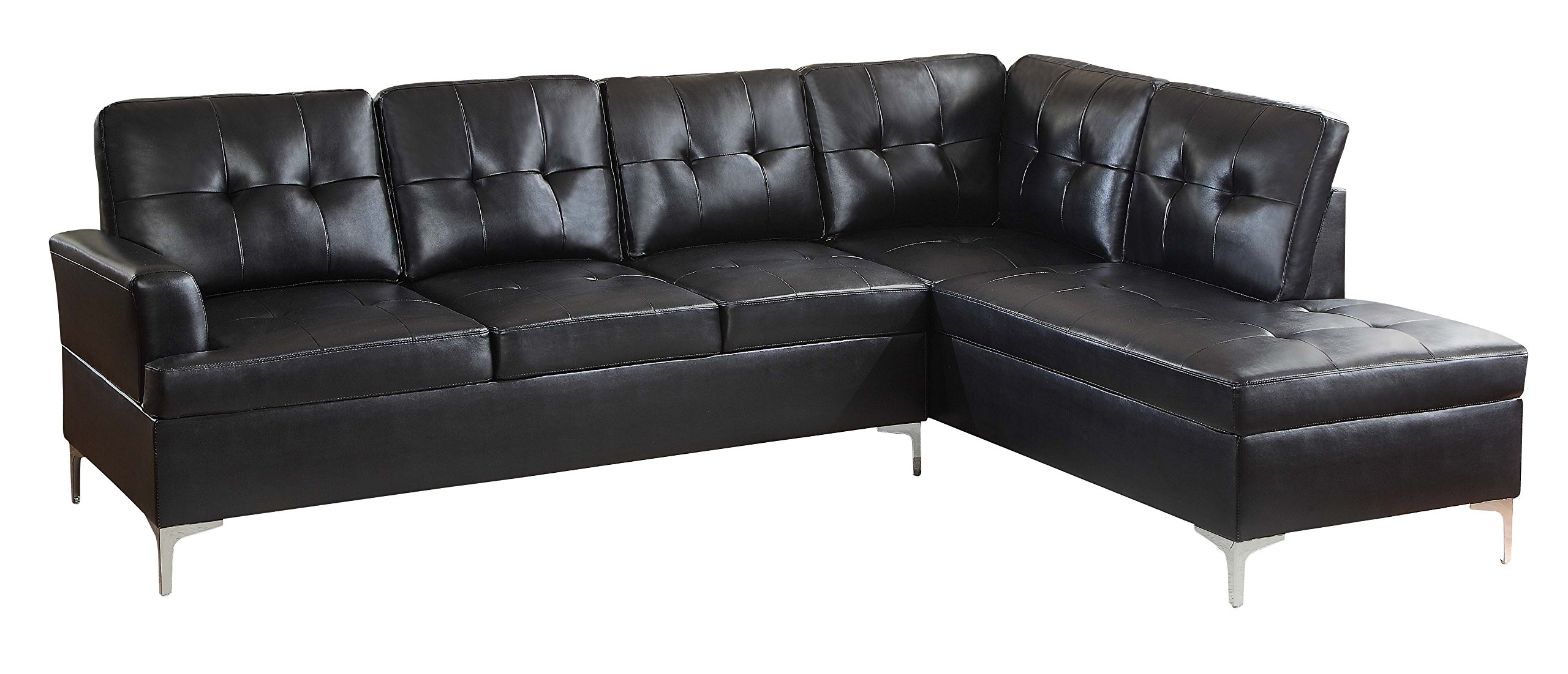 Homelegance 2 Piece Tufted Accent Sectional Sofa With Chaise Bi-Cast Vinyl, Black